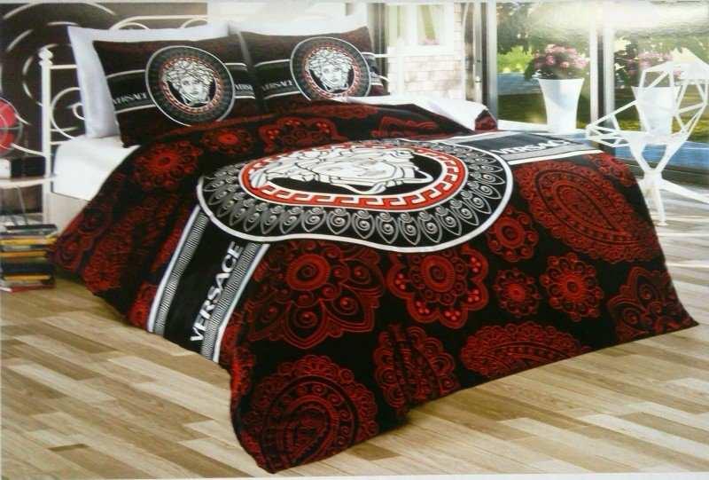 Луксозен спален комплект Versace - Червено/Черно