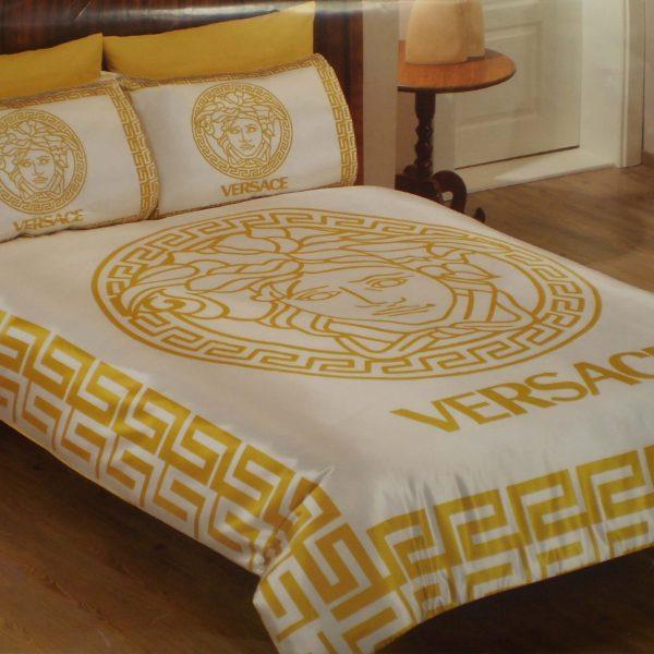 Луксозен спален комплект Versace Classic - Бяло/Златисто