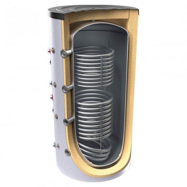Буферен съд TESY V 12/8 S2 1500 120 F45 P6 C за отоплителни инсталации с две серпентини