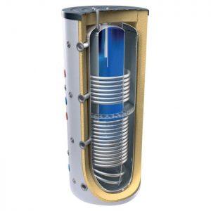 Комбиниран бойлер и буферен съд TESY V 15/7 S2 600 81 EV 150 40 C за инсталации и БГВ с две серпентини
